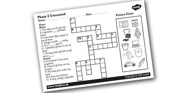 Phase 2 Crossword - phase 2 crossword puzzle, phase 2 crossword worksheet, crossword, phase 2 words, phase 2 word activity, word puzzle, literacy, english