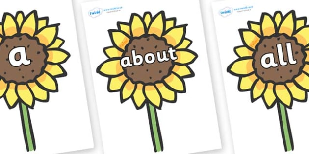 100 High Frequency Words on Sunflowers - High frequency words, hfw, DfES Letters and Sounds, Letters and Sounds, display words