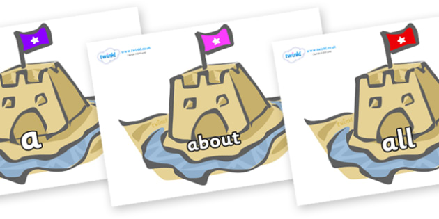 100 High Frequency Words on Sand Castles - High frequency words, hfw, DfES Letters and Sounds, Letters and Sounds, display words