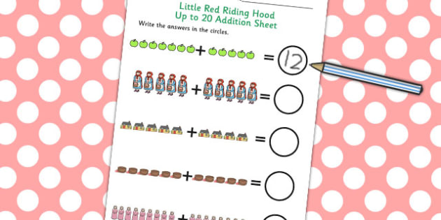 Little Red Riding Hood Up to 20 Addition Sheet - Little, Red, Add