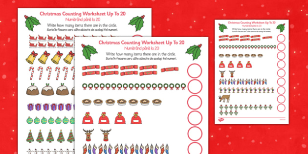Counting at Christmas Worksheet Up to 20 Romanian Translation - romanian, counting, christmas, worksheet, up to, 20