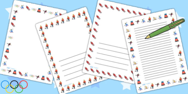 Winter Olympics Page Borders - winter, olympic, writing, literacy