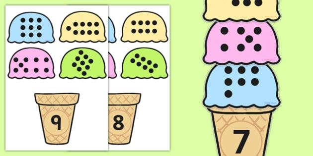 Subitising Ice Cream Matching Activity 1-9 - ice cream, subitising cards, subitising, 1-9