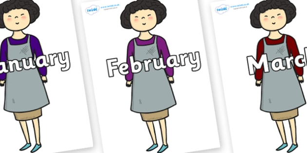 Months of the Year on Aladdins Mother - Months of the Year, Months poster, Months display, display, poster, frieze, Months, month, January, February, March, April, May, June, July, August, September