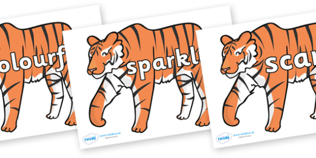 Wow Words on Tigers - Wow words, adjectives, VCOP, describing, Wow, display, poster, wow display, tasty, scary, ugly, beautiful, colourful sharp, bouncy