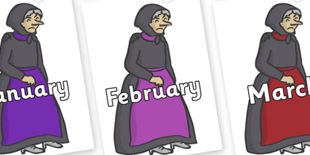 Months of the Year on Witches - Months of the Year, Months poster, Months display, display, poster, frieze, Months, month, January, February, March, April, May, June, July, August, September
