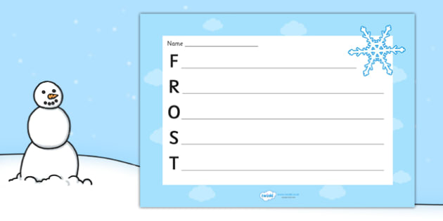 Frost Acrostic Poem Template - frost acrostic poem, weather acrostic poems, weather and seasons, frost acrostic template, frost poem template, frost, weather
