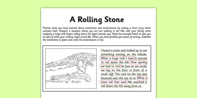 Statement or Exclamation Application Activity - A Rolling Stone - GPS, sentence types, exclamation marks