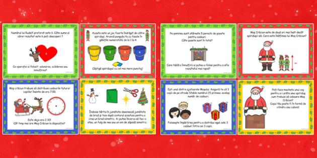 Sărbătoarea Crăciunului - Cartonașe cu provocări matematice