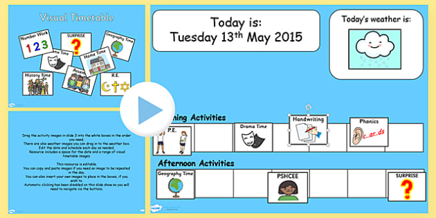 Interactive Visual Timetable PowerPoint - time table, routine