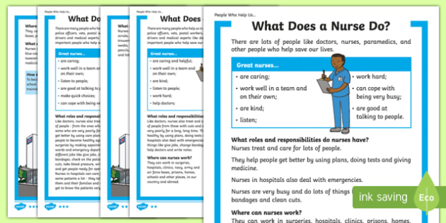 What Does a Nurse Do? Differentiated Fact File