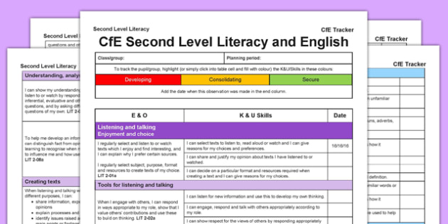 Literacy and English CfE Second Level Tracker - CfE, planning, tracking, literacy, language, english, I can, Second