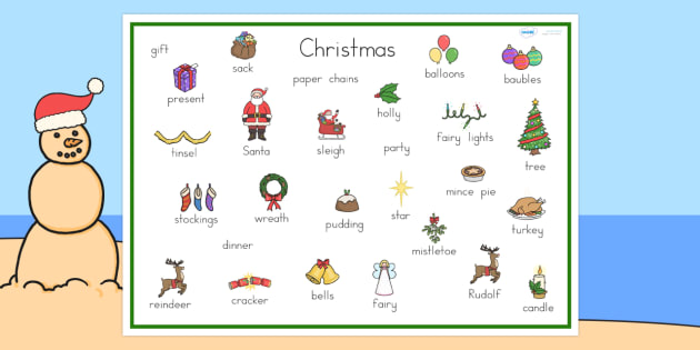 Australia Christmas Word Mat - christmas, word mat, keywords, topic words
