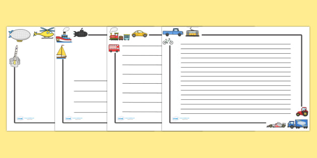 Transport Page Borders (Landscape) - page border, border, frame, writing frame, writing template, transport, travel, transportation, travelling, modes of transport, writing aid, writing, A4 page, page edge, writing activities, lined page, lined pages