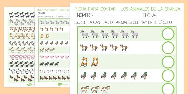 Los animales de la granja Ficha para contar-Spanish