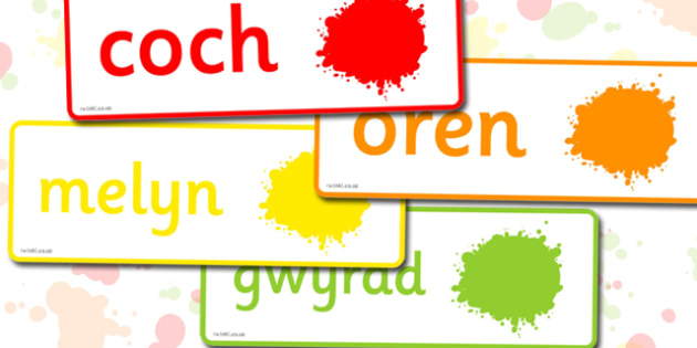 Colour Word Cards Welsh - colour, word cards, welsh, cards, word