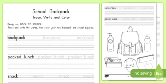 School Backpack Trace, Write and Color Activity Sheet, worksheet
