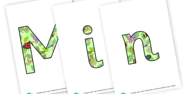 Mini beast lettering - display lettering - Minibeasts Display Primary Resources, minibeast, bugs, life cycles