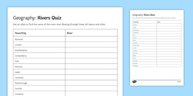 Rivers Quiz Activity Sheet, worksheet