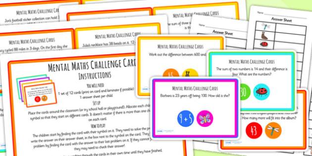 Mental Maths Challenge Cards - maths, challenge, challenge cards