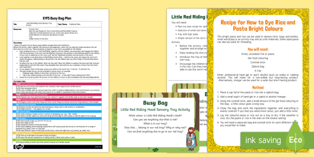 EYFS Little Red Riding Hood Busy Bag Plan and Resource Pack - Little Red Riding Hood, colour, red, rice, sensory, tray, toddlers,