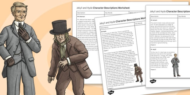 Jekyll and Hyde Character Description Worksheet Chapters 1-3