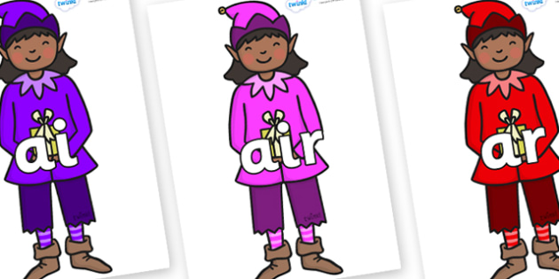 Phase 3 Phonemes on Girl Elves (Multicolour) - Phonemes, phoneme, Phase 3, Phase three, Foundation, Literacy, Letters and Sounds, DfES, display