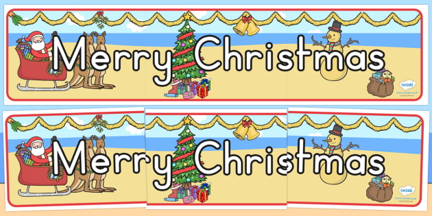 Australia Merry Christmas Display Banner - christmas, banner, display, xmas