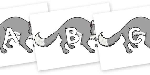 A-Z Alphabet on Wolf - A-Z, A4, display, Alphabet frieze, Display letters, Letter posters, A-Z letters, Alphabet flashcards
