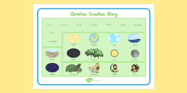 Christian Creation Story Word Mat - usa, america, christian, creation story, word mat, creation