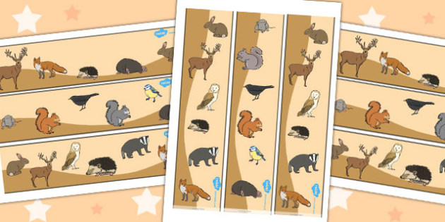 Woodland Animal Display Borders - woodland, forest, animal, animals, squirrel, fox, birds, display, border, classroom border, borders, rabbit, bird, mouse