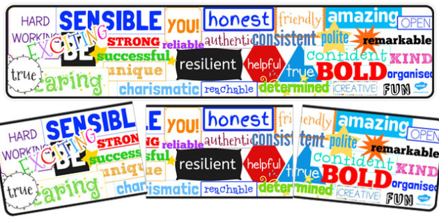 Inspirational Adjective Words Display Banner - display banner, words, inspirational, adjective
