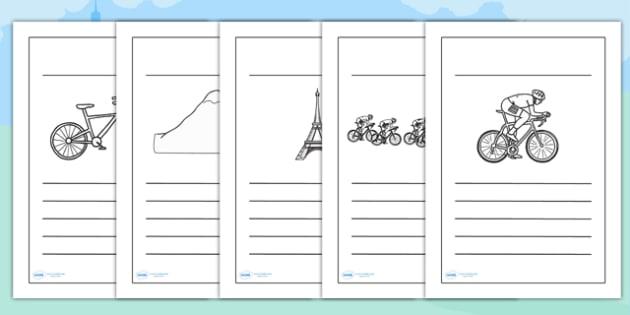 Tour de France Writing Frames - le tour, writing aid, templates