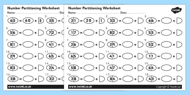 Tens and Ones Number Partitioning Worksheet - number partitioning, number partitioning worksheet, tens and ones, digits, breaking numbers down, ks2 maths