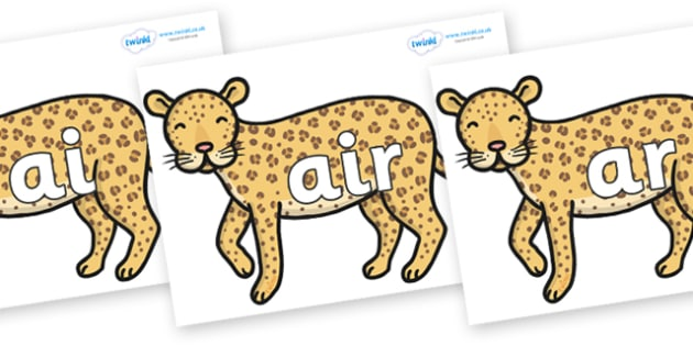 Phase 3 Phonemes on Leopards - Phonemes, phoneme, Phase 3, Phase three, Foundation, Literacy, Letters and Sounds, DfES, display
