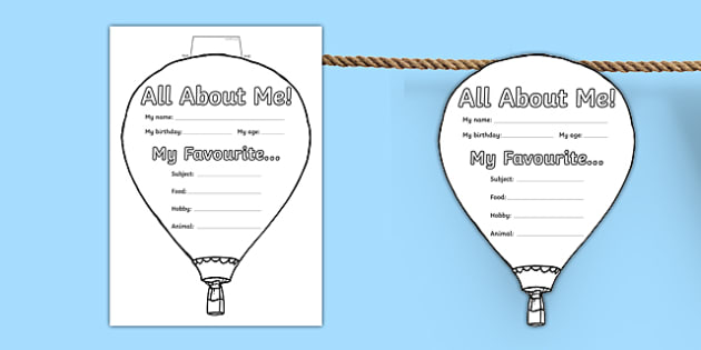 All About Me Hot Air Balloon Display Bunting - all about me, hot air balloon, display bunting, display, bunting