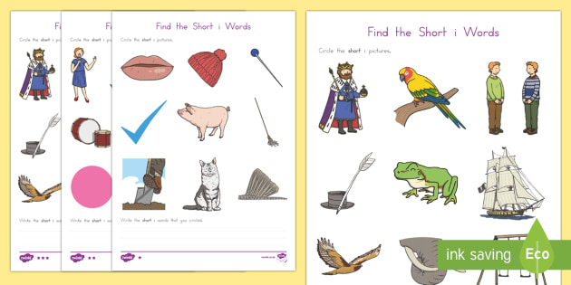 Find the Short i Words Differentiated Activity Sheets