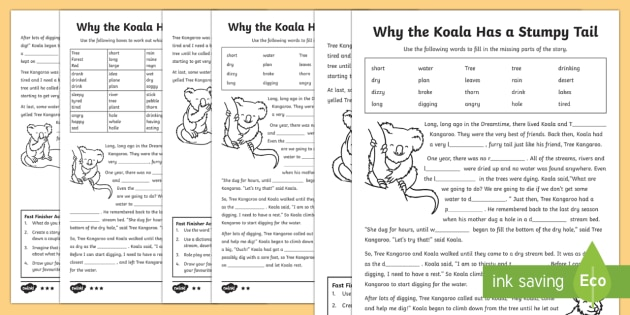 Why the Koala Has a Stumpy Tail Cloze Differentiated Activity Sheets - Australian Aboriginal Dreamtime Stories, cloze passages