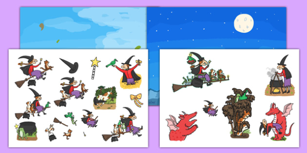 Story Cut-Outs to Support Teaching on Room on the Broom - room on the broom, story cut outs, cut outs, room on the broom cut outs, room on the broom activities, activities