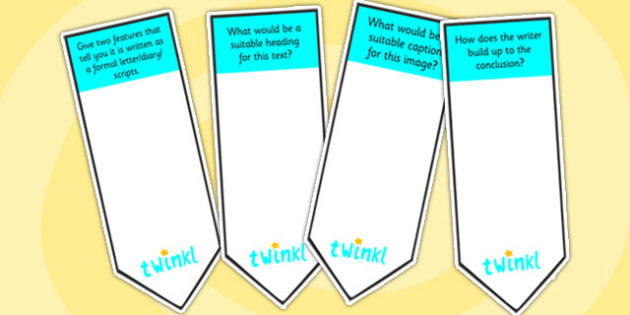 AF4 Guided Reading Question Bookmarks - assessment focus 4, af4 bookmarks, assessment focus reading, assessment focus 4 bookmarks, question bookmarks, af4