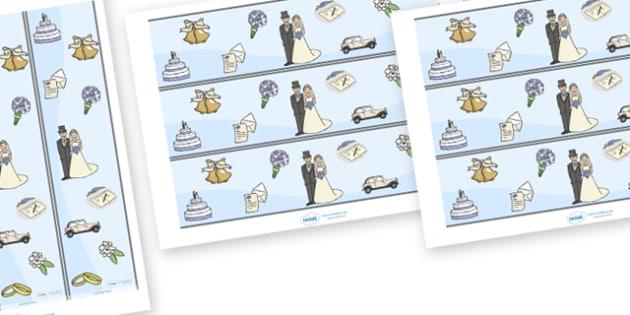 Wedding Display Borders - Weddings, Display border, border, display, wedding, marriage, bride, groom, church, priest, vicar, dress, cake, ring, rings, bridesmaid, flowers, bouquet, reception, love