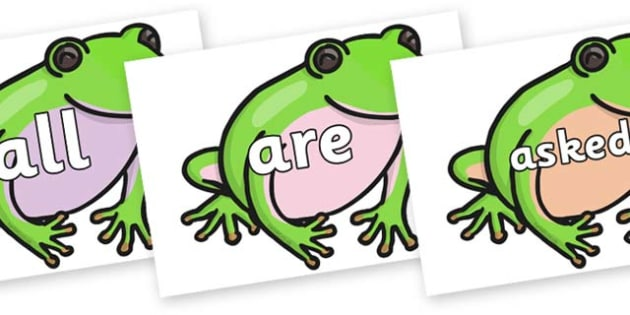 Tricky Words on Green Tree Frog - Tricky words, DfES Letters and Sounds, Letters and sounds, display, words