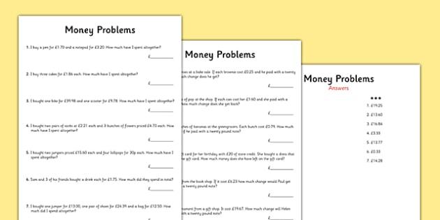 Money Word Problems - money, word problems, word, problems, worksheets