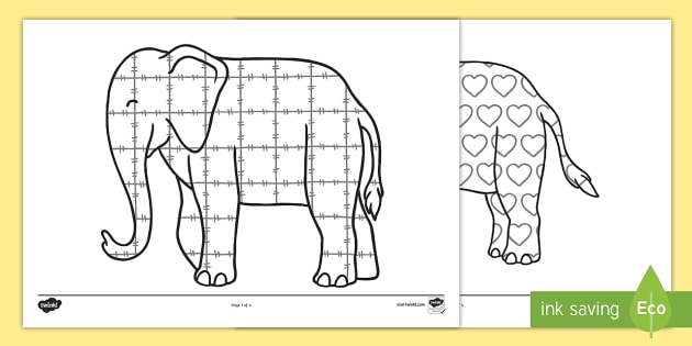 Patterns Colouring Sheets to Support Teaching on Elmer - Elmer, Elmer the elephant, resources, Elmer story, patchwork elephant, PSHE, PSE, David McKee, colours, patterns, story, story book, story book resources, story sequencing, story resources, Elm