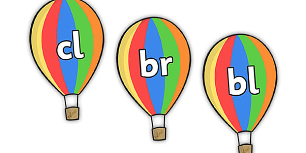 Consonant Clusters on Hot Air Balloons - Consonant clusters, consonant, consonants, balloon, digraph, trigraph, Alphabet  Fans, A-Z letters, Alphabet flashcards, foundation stage literacy, letters and sounds, DfES, KS1