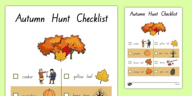 Autumn Hunt Checklist - nz, new zealand, autumn hunt, checklist, autumn, hunt