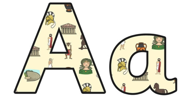 Ancient Greece Small Lowercase Display Lettering - ancient greece, greece, ancient greeks, ancient greece display lettering, ancience greece display, ks2