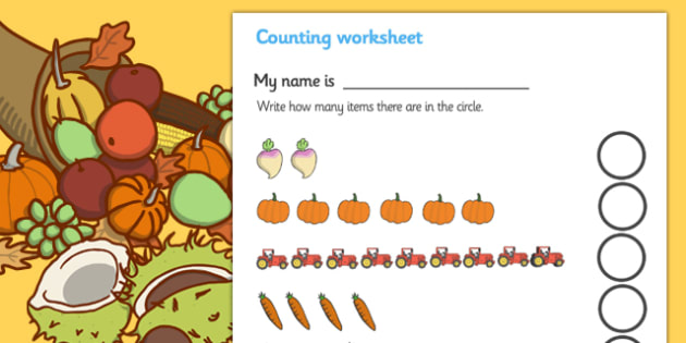 My Counting Worksheet (Harvest) - Counting worksheet, autumn, counting, activity, how many, foundation numeracy, counting on, counting back,  harvest, harvest festival, fruit, apple, pear, orange, wheat, bread, grain, leaves, conker