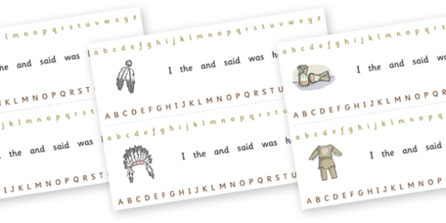 Alphabet Strips (Native Americans) - Alphabet, Learning letters, Writing aid, Writing Area, Native americans, indian, moccasin, bow and arrow, dream catcher, wild west