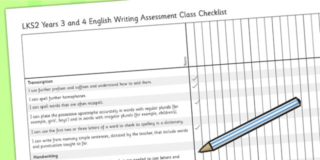 2014 Curriculum LKS2 Years 3 and 4 Writing Assessment Checklist
